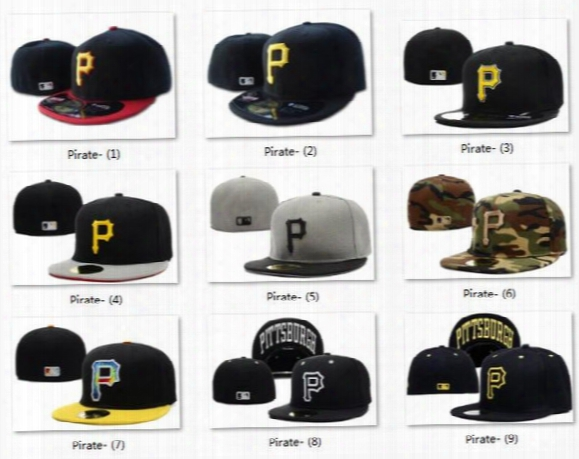 Hot Collection Pittsburgh Fityed Cap Embroidered P Letter Black Baseball Cap Casual Style Sport Pirate Fit Hats For Sale Cool Base