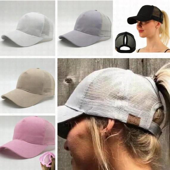 Hot Women Cc Ponytail Baseball Hat With Cc Logo Fashion Girls Baseball Softball Hats Back Hole Pony Tail Sun Snapback Cas For Women C665