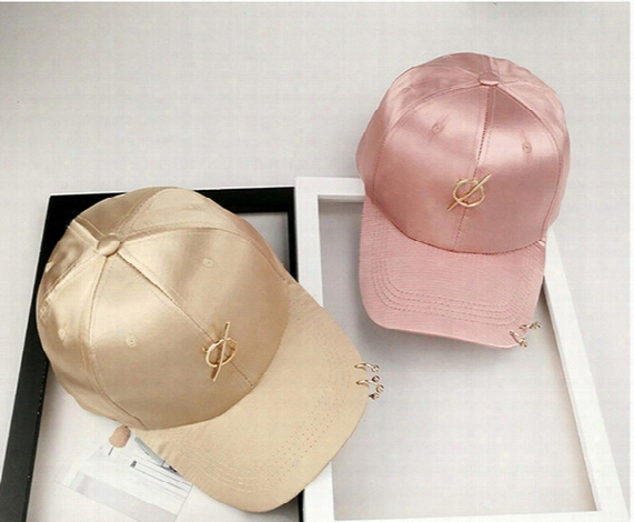 Hot Women Silk Satin Metal Ring Baseball Hats Solid Color Duck Caps Tide People Leisure Wild Hip Hop Hat Cap Female Shade Summer