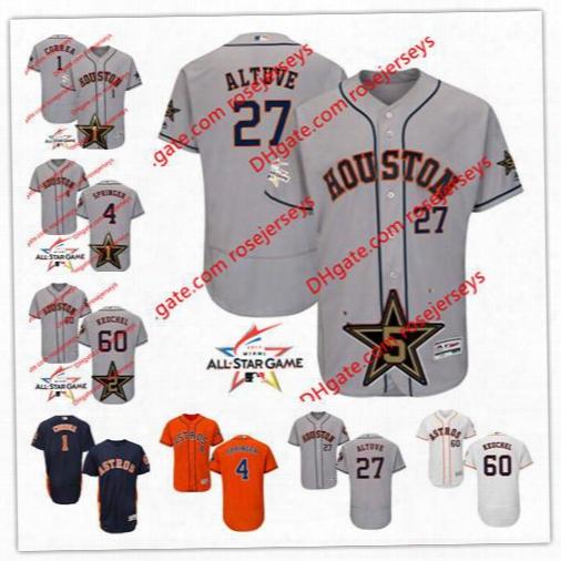 Houston Astros 2017 All-star Game Worn Jersey 1 Carlos Correa 4 George Springer Jose Altuve 60 Dallas Keuchel Gray Flex Base Sewn Jerseys