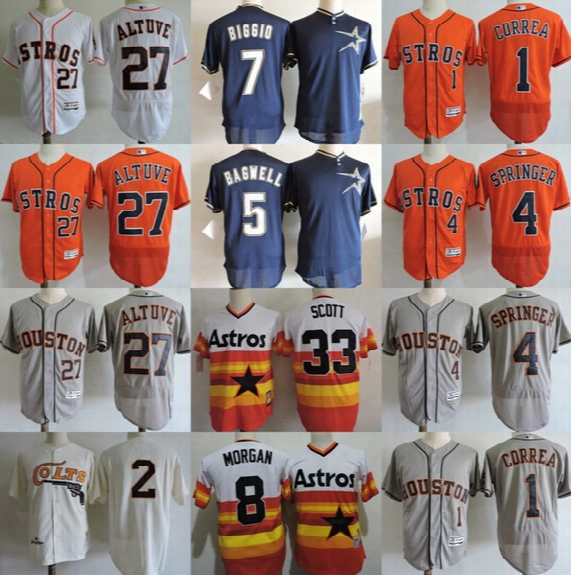 Houston Astros 27 Jose Altuve 1 Carlos Correa 7 Craig Biggio 4 George Springer 5 Jeff Bagwell 34 Nolan Ryan Scott Jersey
