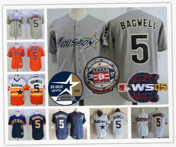 Houston Astros #5 Jeff Bagwell Hall Of Fame 2005 World Series 35th Gray White Pinstripe Orange Rainbow Mesh Red Throwback Stitched Jerseys