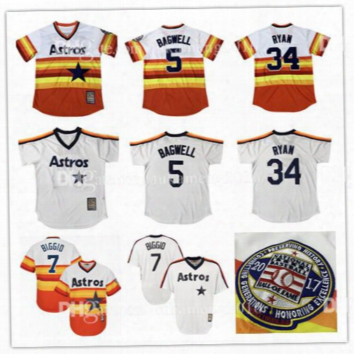 Houston Astros Embroidery Nolan Ryan Baseball Jerseys Jeff Bagwell Craig Biggio Throwback Majestic Fashion 2017 Hall Of Fame Orange/multi
