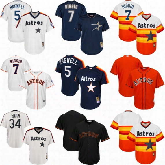 Houston Astros Throwback Jersey Cooperstown Collection Men's 5 Jeff Bagwell 7 Craig Biggio 34 Nolan Ryan Baseball Jerseys Mix Ordser