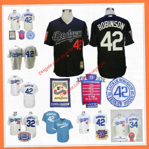 Jackie Robinson Jersey Black Career Highlights And Awards Patch Sandy Koufax Fernando Valenzuela Los Angeles Brooklyn Dodgers Cream Grey