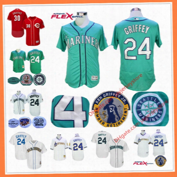 Ken Griffey Jr Jersey With Number Retirement & 2016 Hall Of Fame Patch Mlb Seattle Mariners Cincinnati Reds 30# Green Cream Blue Teal Flag