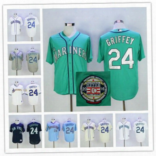 Ken Griffey Jr Jersey With Number Retirement & 2016 Hall Of Fame Patch Mlb Seattle Mariners 1979 Turn Back Retro Jerseys Shipping Free