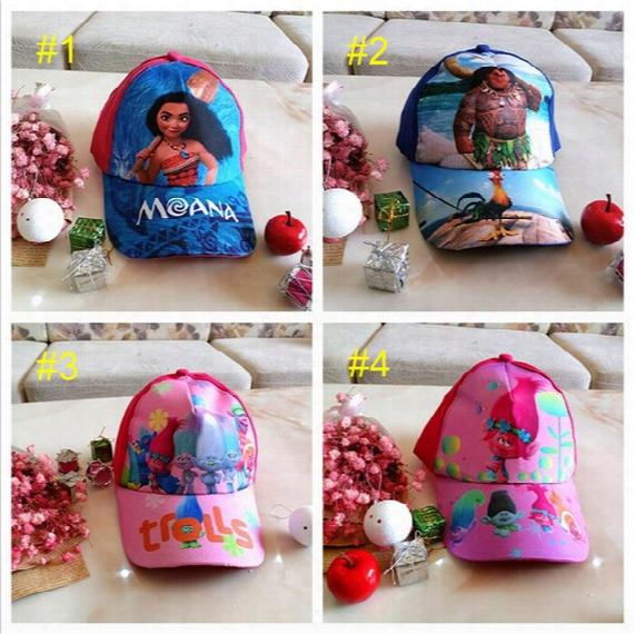Kids Trolls Moana Hat Cap 4 Color New Children Ball Caps Boys Girls Cartoon Mesh Baseball Hockey Mesh Hat B001