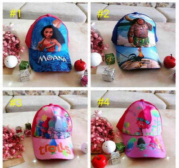 Kids Trolls Moana Hat Cap 6 Color New Children Ball Caps Boys Girls Cartoon Mesh Baseball Hockey Mesh Hat