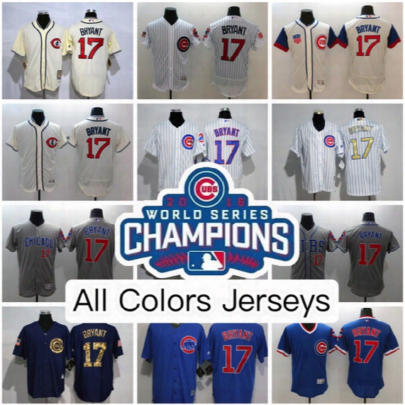 Kris Bryant 2016 World Series Champion Jerseys Chicago Cubs Home Road Usa Flag Star Stripe,2017 Spring Training,flex&cool Base/fashion