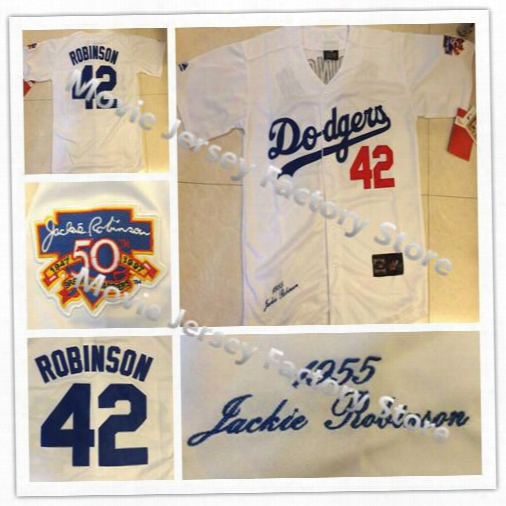 La Dodgers 42 Jackie Robinson Jersey 1955 Throwback Los Angeles Dodgers White W/50thh Hall Of Fame Patch,al Stitched Free Shipping