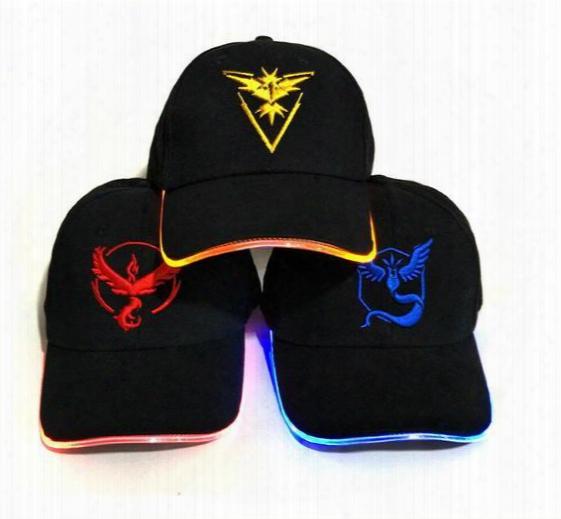 Led Light Poke Cap Hat Poke Go Team Valor Mystic Instinct Lights Baseball Caps Christmas Halloween Luminous Holiday Pocket Monster Hats