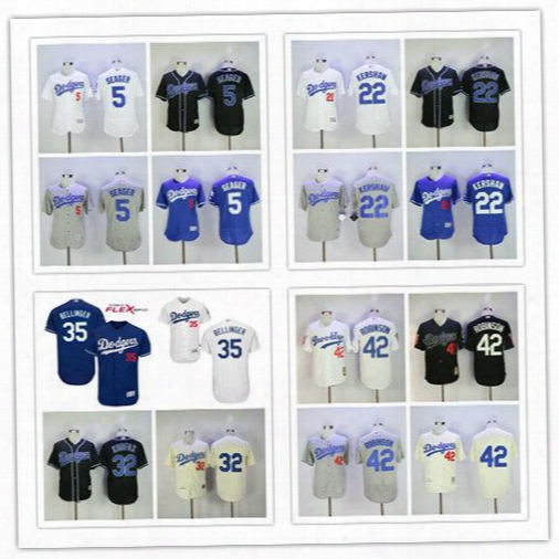 Los Angeles Dodgers Felx Base Baseball Jerseys 5 Corey Seager 22 Clayton Kershaw 35 Cody Bellinger 42 Jackie Robinson Throwback Jerseys