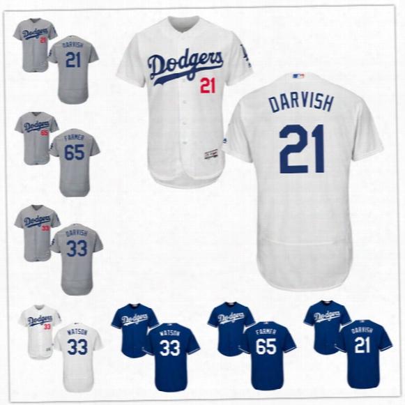 Los Angeles Dodgers Jersey #21 Yu Darvish La Gray Road 33 Tony Watson 65 Kyle Farmer Tony Cingrani White Blue Stitched Mens Jerseys