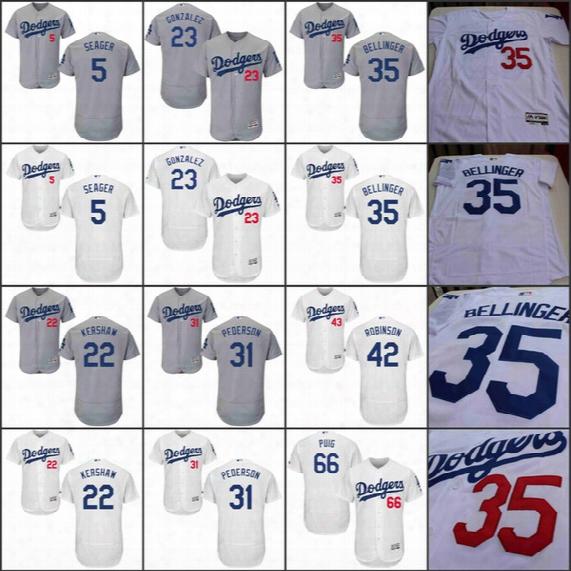 Los Angeles Dodgers Jersey #35 Cody Bellinger #22 Clayton Kershaw #5 Corey Seager Joc Pederson Jackie Robinson Adrian Gonzalez Kenley Jansen