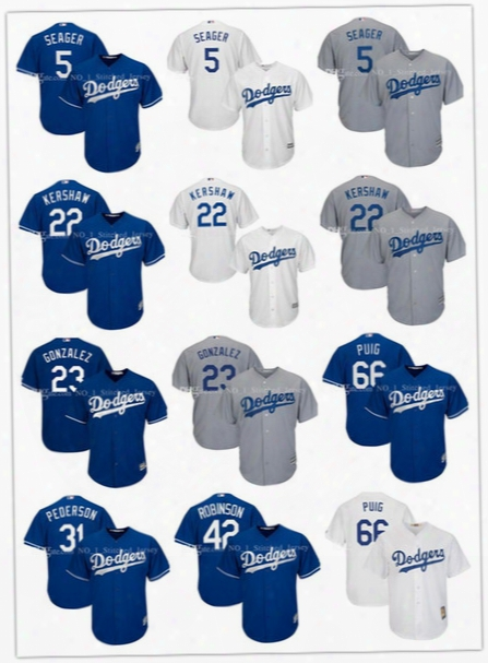 Los Angeles Dodgers Jersey Gray Alternate Clayton Kershaw Corey Seager Joc Pederson Jackie Robinson Yasiel Puig Cool Base Stitched Jerseys