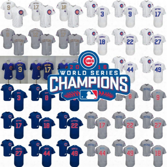 Men Women Youth Chicago Cubs Jersey Gold World Series Champions Kris Bryant Anthony Rizzo Javier Baez Kyle Schwarber David Ross Russell