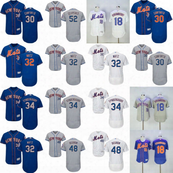 Men Women Youth New York Mets Jersey Jacob Degrom Yoenis Cespedes Noah Syndergaard Mike Piazza Michael Conforto Darryl Strawberry Tim Tebow