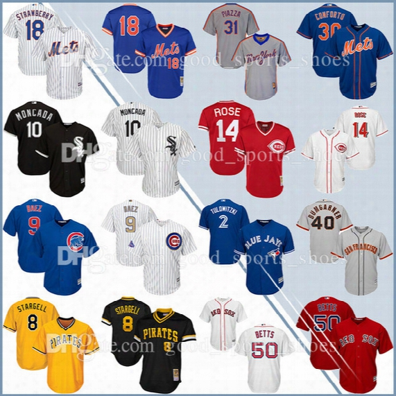 Men Yoan Moncada Darryl Strawberry Michael Conforto Piazza Stargell Cincinnati Reds Rose Betts Bumgarner Baez Tulowitzki Baseball Jersey
