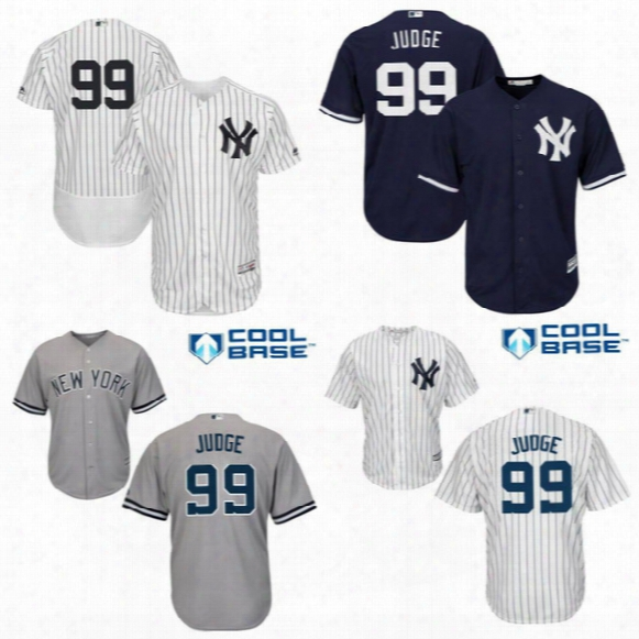 Men's #99 Aaron Judge Jerseys New York Yankees Judge Jersey Youth Kids Women White Gray Navy Flexbase Cool Base Embroidery Baseball Jersey