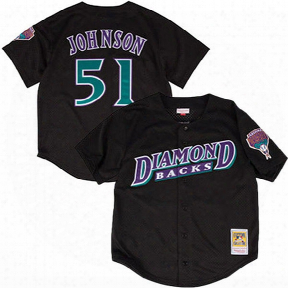 Men's Arizona Diamondbacks Randy Johnson Mitchell & Ness Black Fashion Cooperstown Collection Mesh Batting Practice Jersey Free Shipping