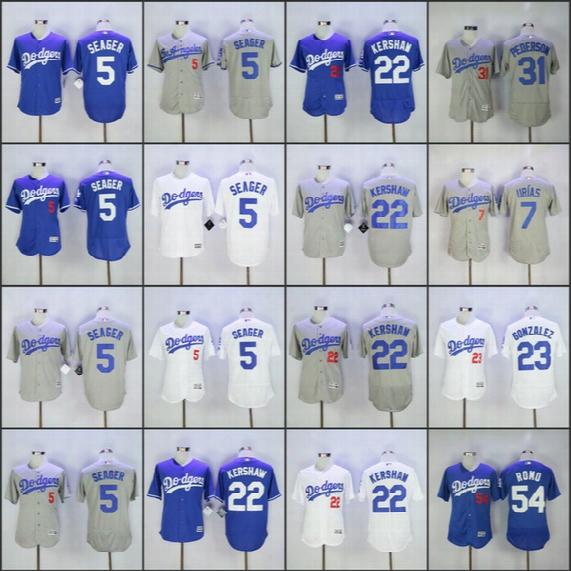 Men's Dodgers Jersey 22 Clayton Kershaw 35 Cody Bellinger 5 Corey Seager 23 Adrian Gonzalez 42 Robinson 31 Pederson Romo Hernandez Jerseys