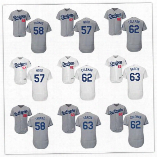 Men's Los Angeles Dodgers Baseball Jerseys #57 Alex Wood #58 Ian Thomas #62 Coleman #63 Yimi Garcia Grey White Flex Base Player Jersey