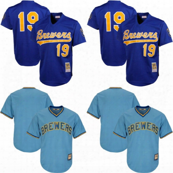 Men's Milwaukee Brewers Throwback Jersey 19 Robin Yount Cooperstown Mesh Batting Practice Custom Baseball Jerseys Mix Order