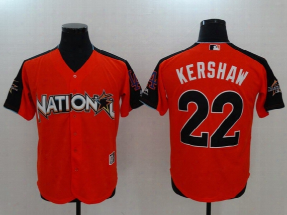 Men's National League 22 Clayton Kershaw Majestic Orange 2017 Mlb All-star Game Home Run Derby Jersey Stitched Free Drop Shipping Lymmia