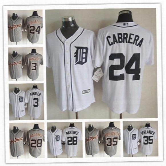 Men's New Cool Base Detroit Tigers Jersey #3 Ian Kinsler #24 Miguel Cabrera #28 Jd Martinez #35 Justin Verlander Stitched Baseball Jerseys