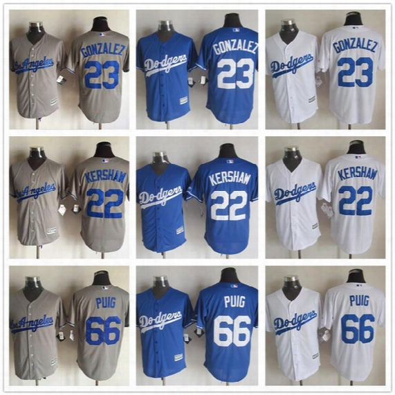 Men's New Cool Base Los Angeles Dodgers Jersey ##22 Clayton Kershaw #23 Adrian Gonzalez #66 Yasiel Puig Stitched Baseball Jerseys
