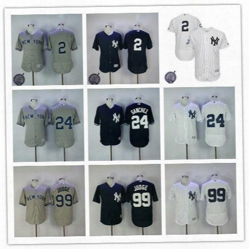 Men's New York Yankees 24 Gary Sanchez 99 Aaron Judge 2 Derek Jeter #2 Retirement Patch Official Ny Cool Base Felxbase Baseball Jerseys
