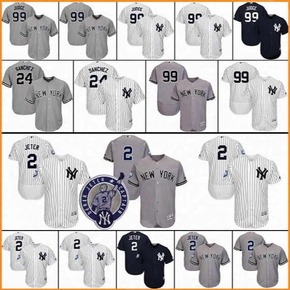 Men's New York Yankees 99 Aaron Judge 2 Derek Jeter 24 Gary Sanchez Matting Stitched Authentic Baseball Jersey Flexbase Cool Base Jerseys