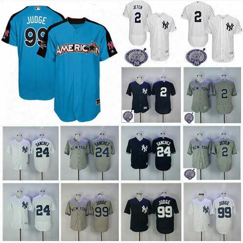 Men's New York Yankees Jersey 2 Derek Jeter 24 Gary Sanchez 99 Aaron Judge Navy Blue 2017 All Star Baseball Jerseys