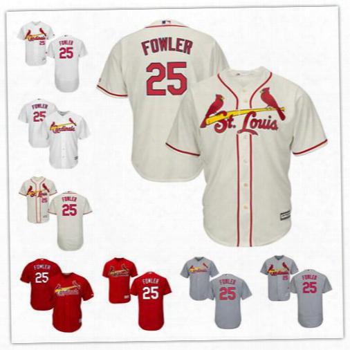 Men's St. Louis Cardinals 25 Dexter Fowler Baseball Jersey Color White Cream Grey Red