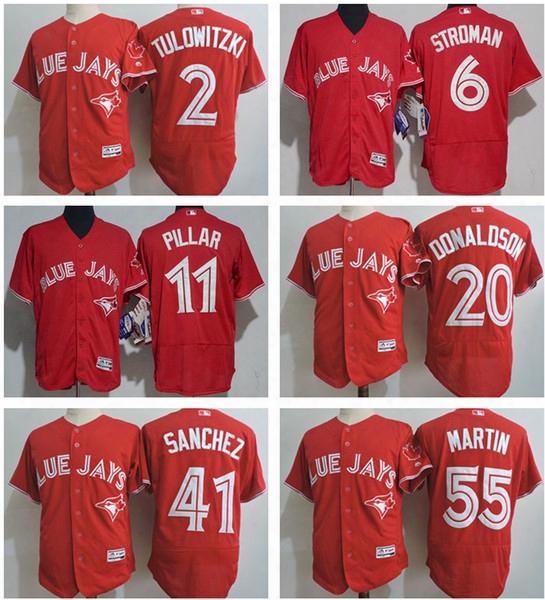 Men's Toronto Blue Jays 2 Troy Tulowitzki 6 Marcus Stroman 19 Jose Bautista 20 Josh Donaldson 14 Justin Smoak Scarlet Red Flex Base Jersey