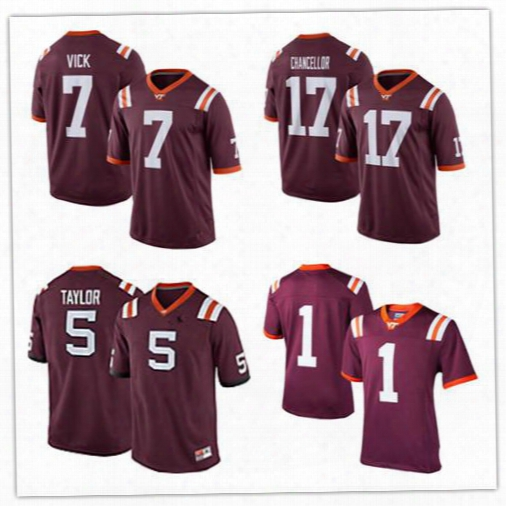 Men's Women Youth/kids Virginia Tech Hokies Red Jerseys 7 Michael Vick 17 Kam Chancellor 5 Tyrod Taylor Customized College Jerseys