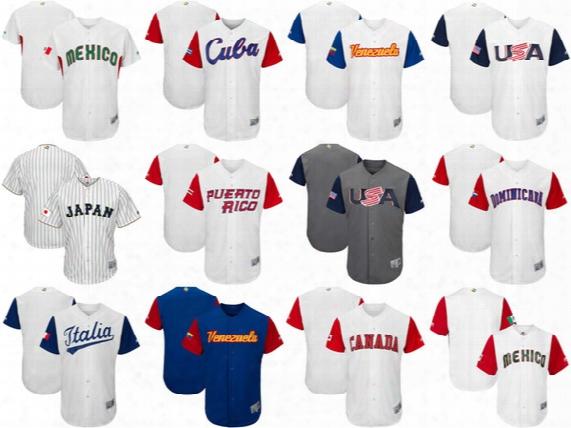 Men's Women's Kid's-usa Canada Japan Italy Mexico Puerto Rico Cuba Baseball 2017 World Baseball Classic Custom Personalized Any Name Jerseys