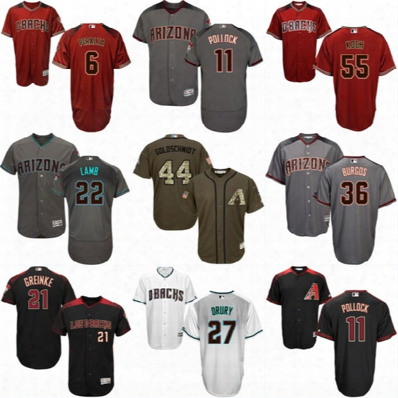 Mens Arizona Diamondbacks Jersey 6 David Peralta 11 A.j. Pollock 22 Jake Lamb 24 Yasmany Tomas 44 Paul Goldschmidt Baseball Jerseys