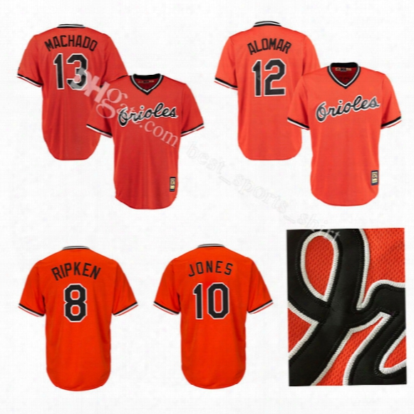 Mens Baltimore Orioles Baseball Jerseys #8 Cal Ripken #10 Adam Jones Jersey 13 Manny Machado Roberto Alomar Throwback Stitched Jerseys