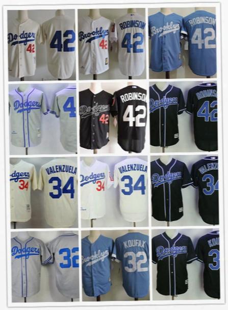 Mens Brooklyn Dodgers Jackie Robinson 1955 Cooperstown Jersey #32 Sandy Koufax #34 Fernando Valenzuela L.a. Dodgers Baseball Jerseys S-3xl