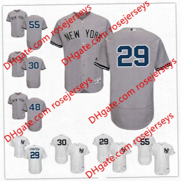 Mens Custom New York Yankees #29 Todd Frazier 30 David Robertson 48 Kahnle Garcia White Navy 55 Sonny Gray Stitched Jerseys S,4xl