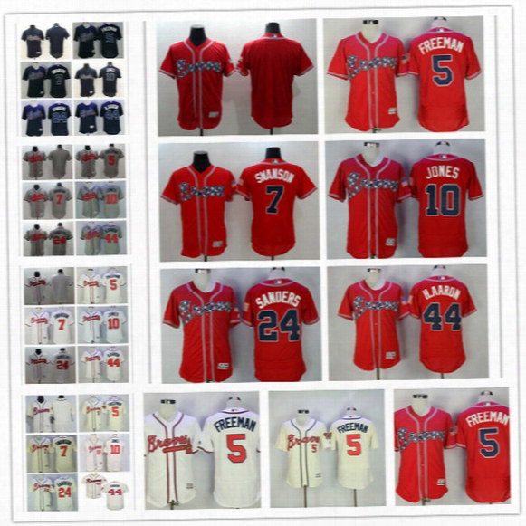 Mens Flex Base Atlanta Braves #5 Freddie Freeman 7 Dansby Swanson 10 Chipper Jones 24 Deion Sanders Hank Aaron White Red Cream Jerseys