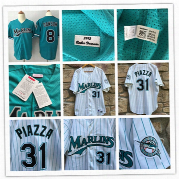 Mens Florida Marlins Andre Dawson 1995 Mesh Bp Jerseys White 1998 #31 Mike Piazza Miami Marlins Throwback Cooperstown Baseball Jersey S-3xl