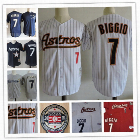 Mens Houston Astros Craig Biggio 2015 Hof Patch Jerseys #7 Craig Biggio Houston Astros 2005 World Series Throwback Baseball Jersey S-3xl