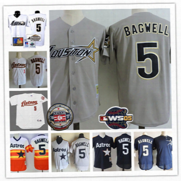 Mens Houston Astros Jeff Bagwell 2017 Hof Patch Jerseys #5 Jeff Bagwell Houston Astros 2005 World Series Throwback Baseball Jersey S-3xl