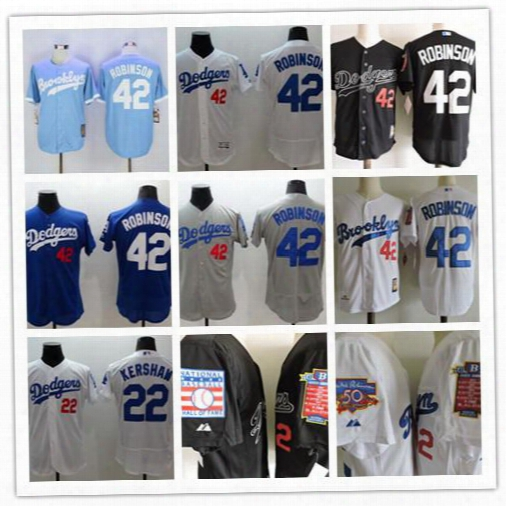 Mens L.a. Los Angeles Dodgers Jackie Robinson White Blue Gray Flexbase Jersey, L.a. 42 Jackie Robinson Throwback Jersey 1995 Hof 50th Patch