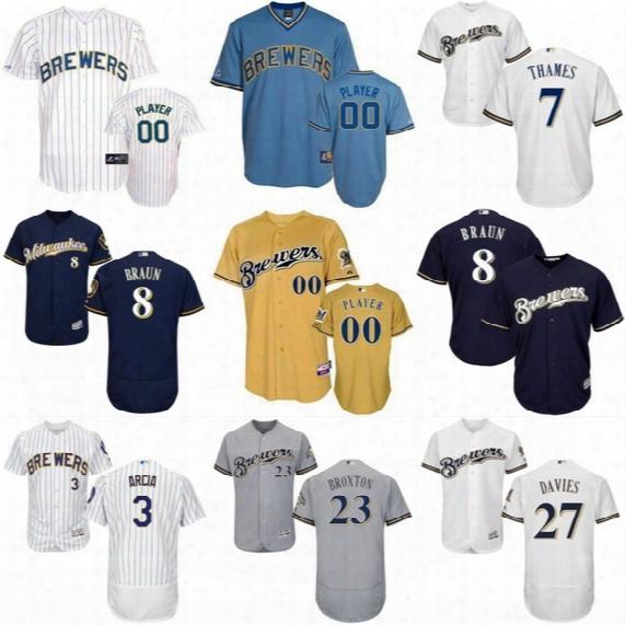Mens Milwaukee Brewers Jersey 27 Zach Davies 3 Orlando Arcia 5 Jonathan Villar 7 Eric Thames 23 Keon Broxton Baseball Jerswys