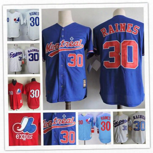 Mens Montreal Expos #30 Tim Raines 2017 Hall Of Fame Red Throwback 1982 Cooperstown Vintage Light Blue Navy White Pinstripe Stitched Jerseys