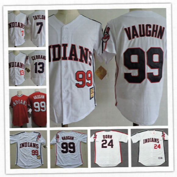 "Mens The ""major League"" Movie Baseball Jersey #99 Rick Vaughn #13 Pedro Cerrano #7 Jake Taylor #24 Roger Dorn Cleveland Indians Jersey S-3xl"